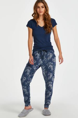 pyjamabroek Indigo Floral met all over print blauw