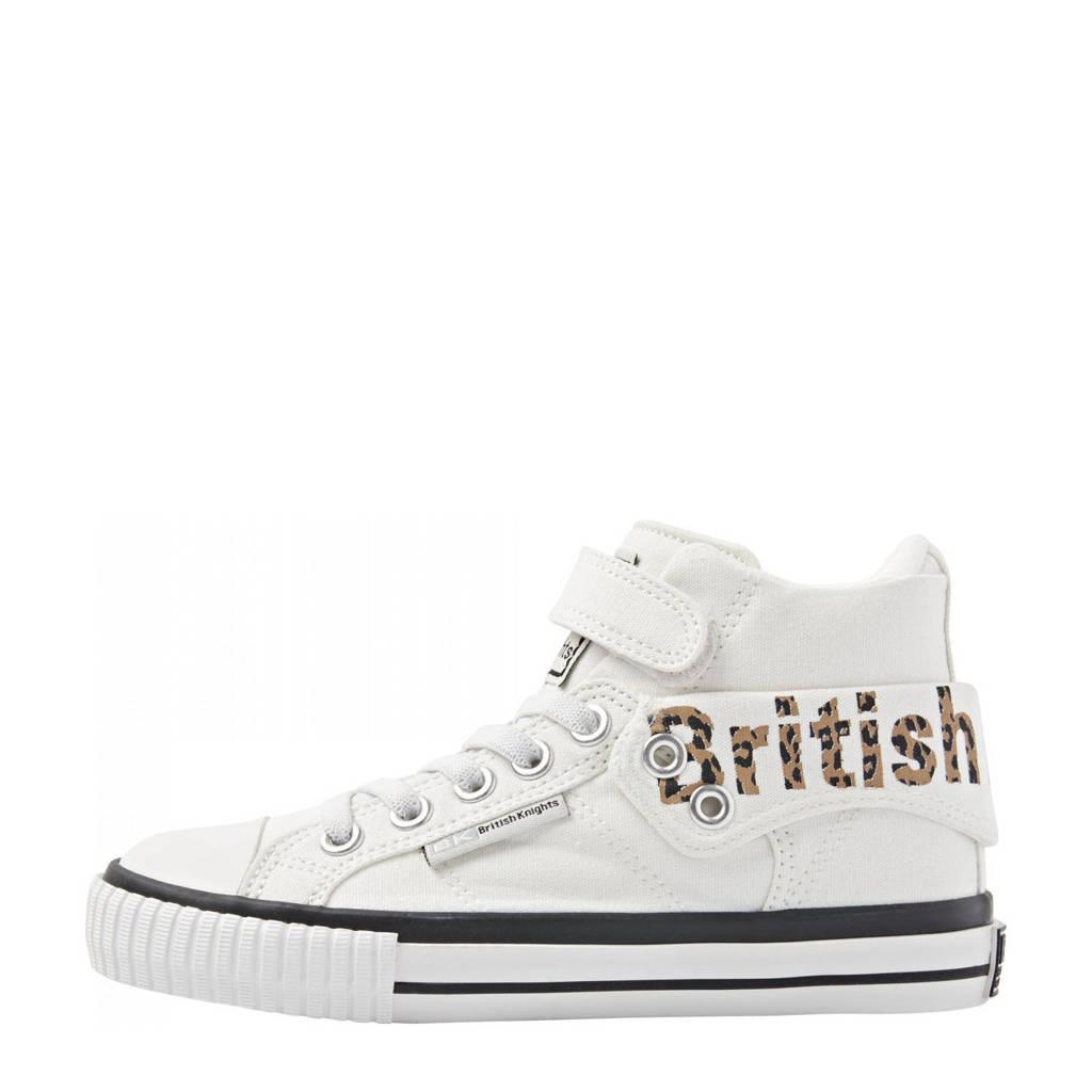 British Knights Roco  hoge sneakers met panterprint wit, Wit/bruin