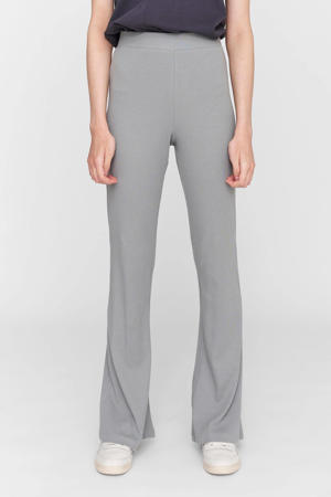 high waist flared broek NMPASA HW FLARED PANTS BG S met biologisch katoen grijs