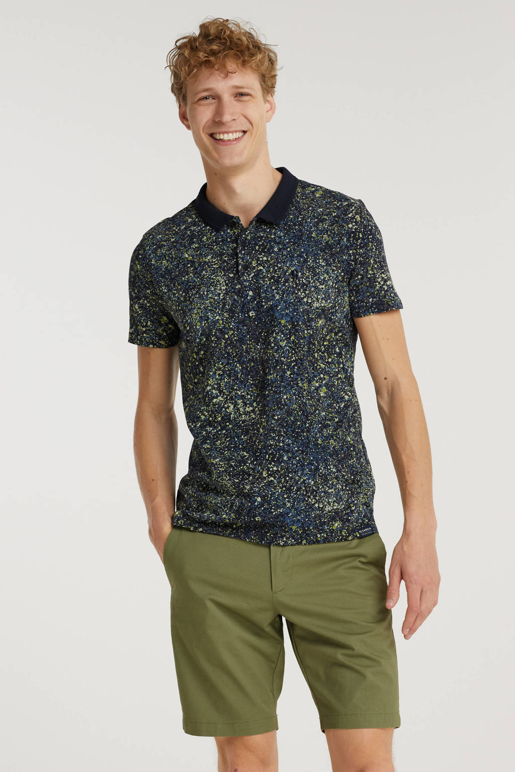 Garcia slim fit polo met all over print imperial blue, Imperial Blue