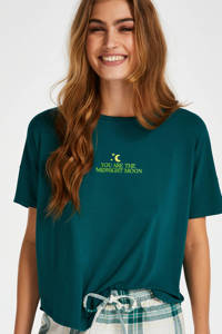 Hunkemöller pyjamatop met printopdruk groen, Groen