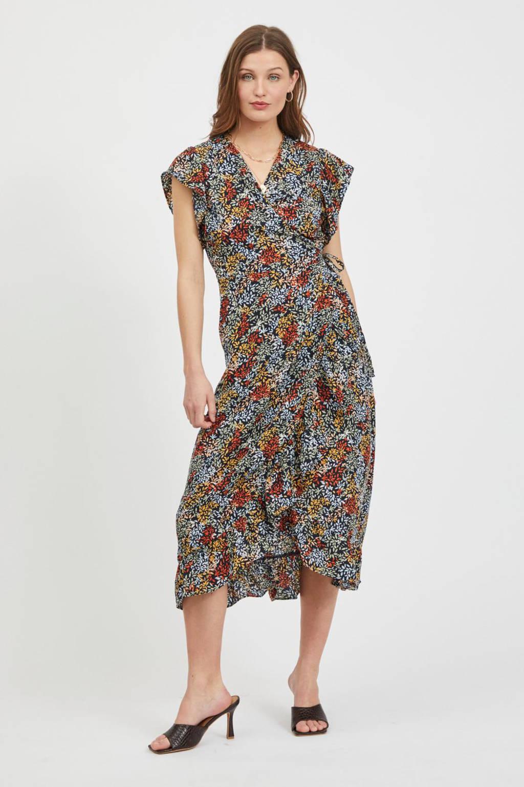 VILA jurk VIMANSAKIANA met bladprint en volant marine, Marine