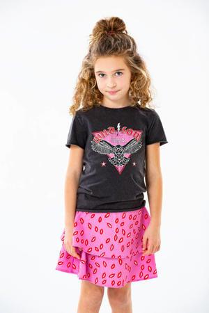 rok Solveig met all over print roze/rood