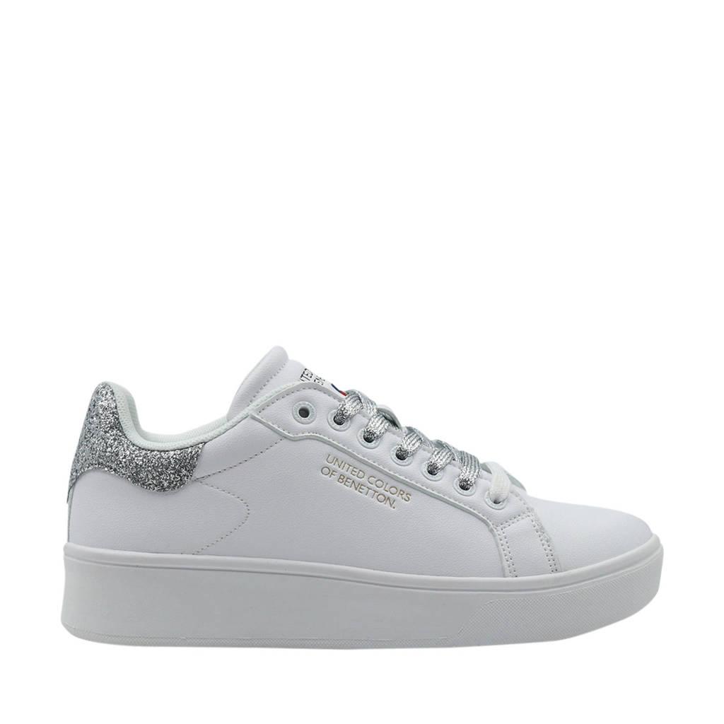 Benetton Triple Glit  sneakers met glitters wit/zilver, Wit/zilver