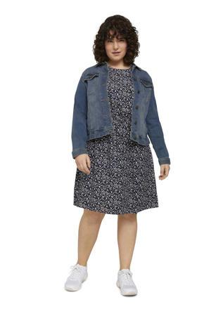 gebloemde A-lijn jurk donkerblauw/wit/blauw