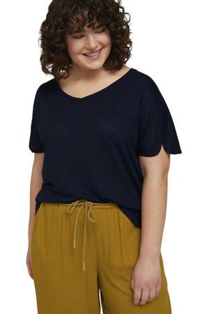 gemêleerd T-shirt donkerblauw
