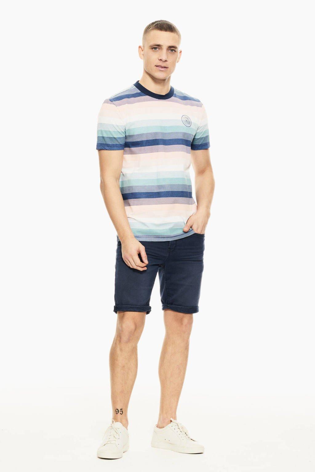 Garcia gestreept T-shirt blauw/lichtroze, Blauw/lichtroze