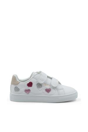Love multi Glitter Velcro  sneakers met hartjesprint wit