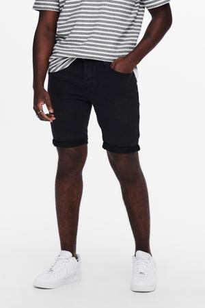 regular fit jog denim short zwart