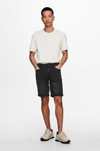 ONLY & SONS regular fit jeans short zwart, Zwart