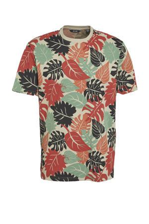 T-shirt Kena van biologisch katoen groen/beige/brique