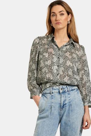 blouse Hot Printed met all over print zwart