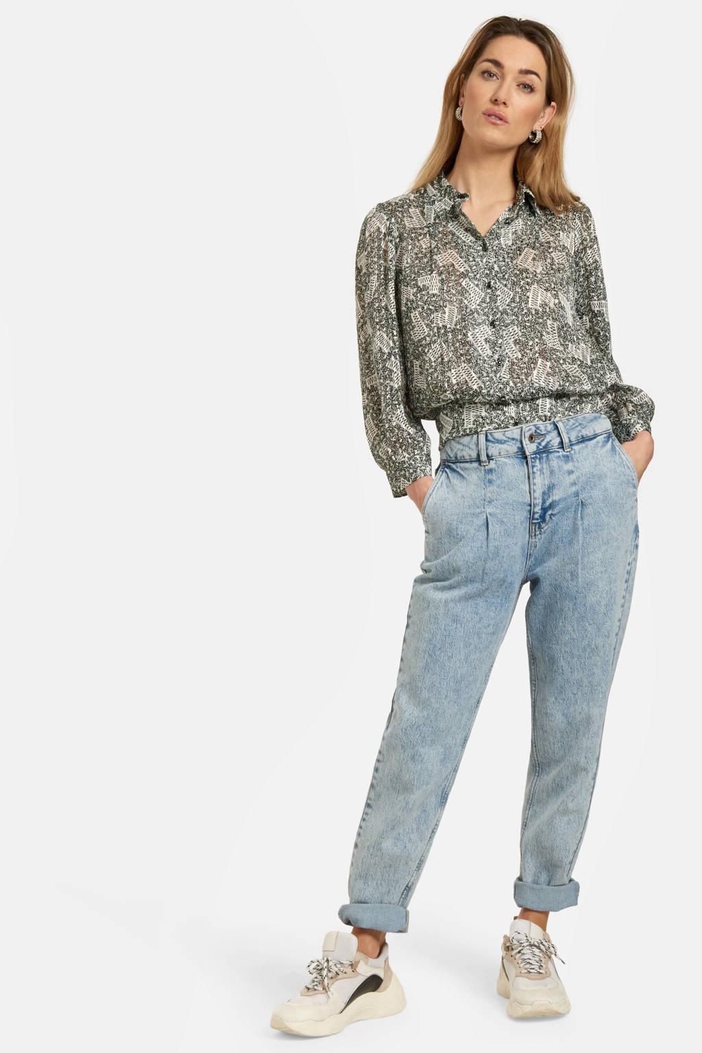 Shoeby Eksept blouse Hot Printed met all over print zwart, Zwart