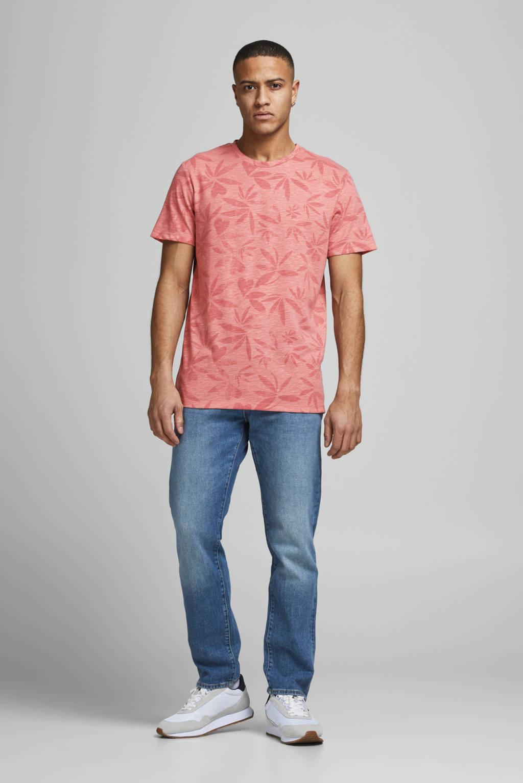 JACK & JONES T-shirt Floral met all over print roze, Roze