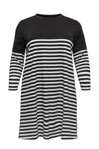 ONLY CARMAKOMA gestreepte T-shirtjurk zwart/wit, Zwart/wit