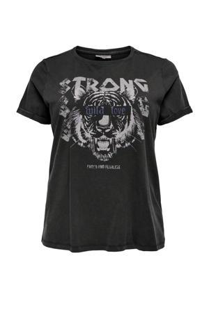 T-shirt CAREMILY met printopdruk zwart
