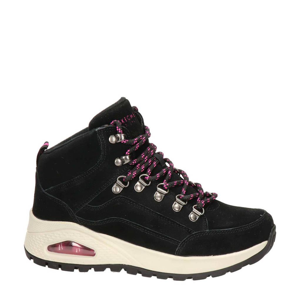 Skechers Rugged One  nubuck wandelschoenen zwart, Zwart/rood
