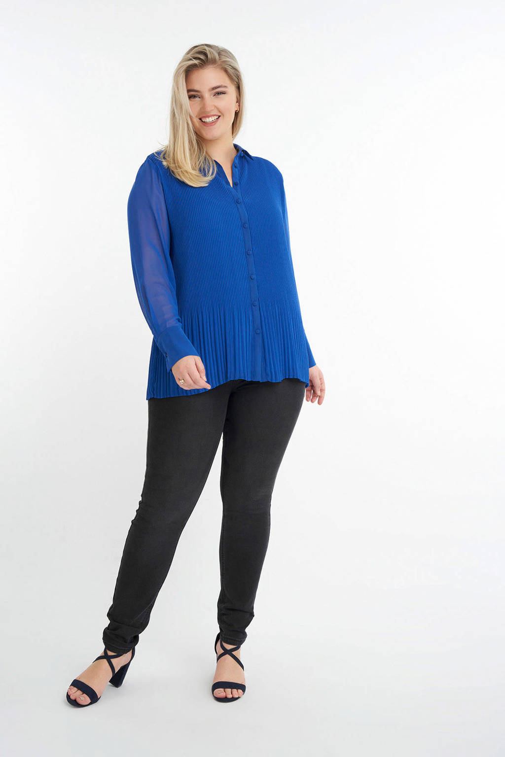 MS Mode semi-transparante blouse blauw, Blauw