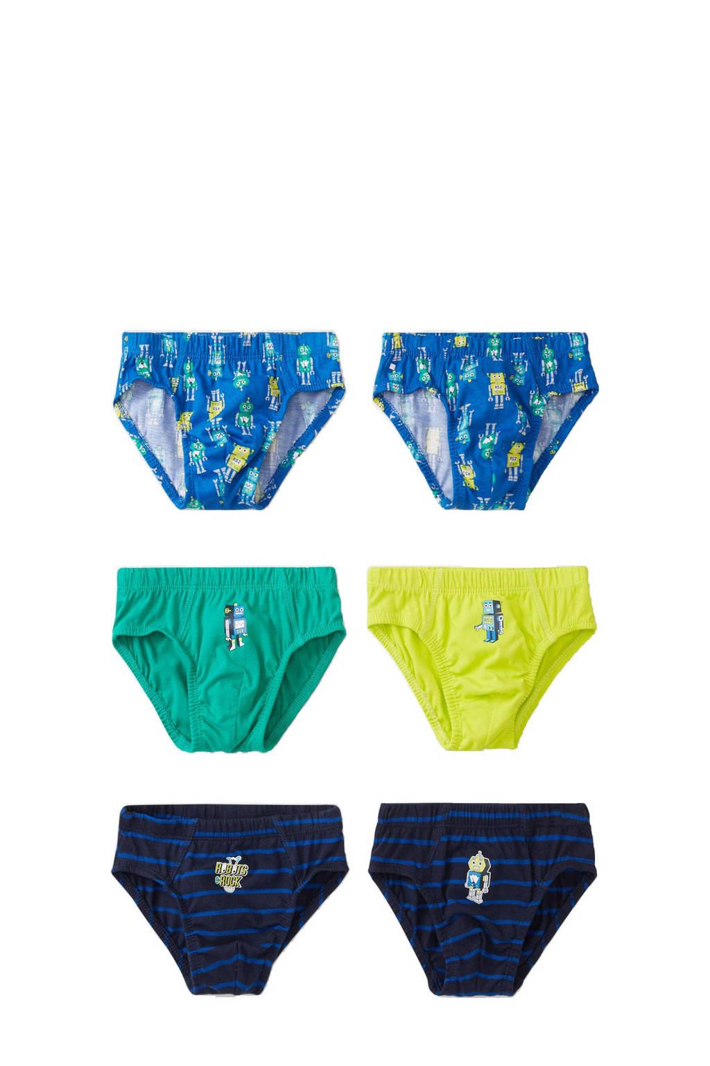 C&A Palomino slip - set van 6 blauw/groen/geel, Blauw/groen/geel
