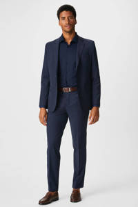 C&A Angelo Litrico slim fit overhemd donkerblauw, Donkerblauw