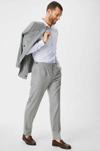C&A Angelo Litrico gestreept slim fit overhemd wit, Wit