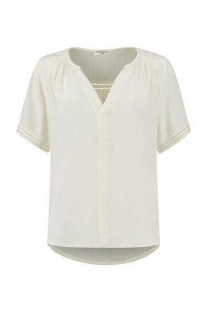 blouse Cristy met plooien gebroken wit