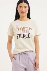 Circle of Trust T-shirt Suri met tekst gebroken wit, Gebroken wit