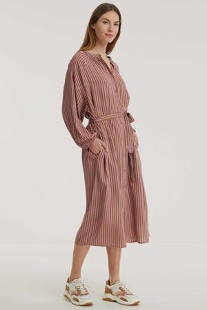 gestreepte blousejurk Aletta roze/bruin