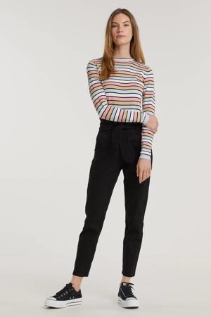 high waist straight fit broek Julia zwart