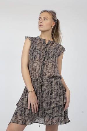 semi-transparante jurk Blair met all over print en ruches taupe