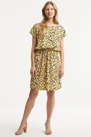 jurk Lavada met all over print geel/wit/zwart