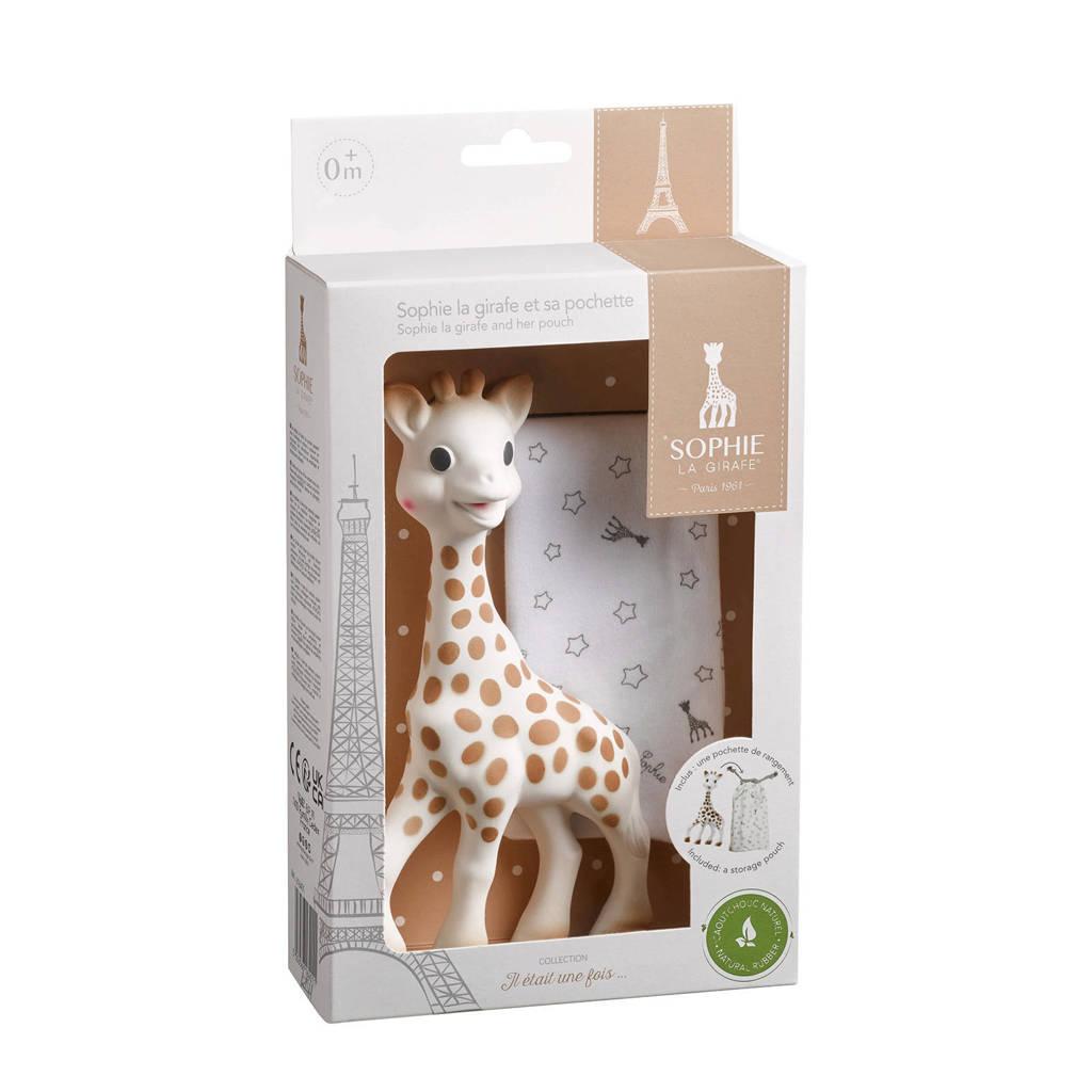 Sophie de Giraf set + bewaarzakje, Beige, wit, grijs