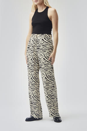 high waist regular fit broek Ibu met dierenprint wit/zwart