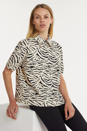 blouse Isha met dierenprint ecru/zwart