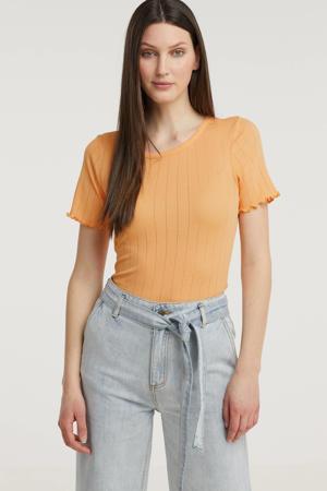 fijngebreid T-shirt Issy met ruches lichtoranje