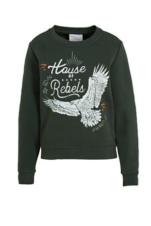 sweater House Of Rebels met printopdruk zwart