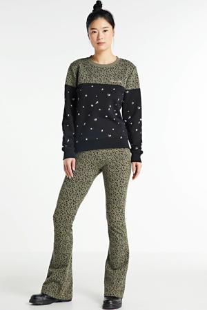 sweater Leopard Dot Stars met all over print zwart/ kaki