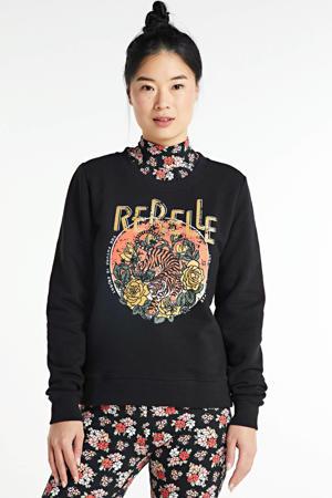 sweater Rebelle Tiger met printopdruk en glitters zwart