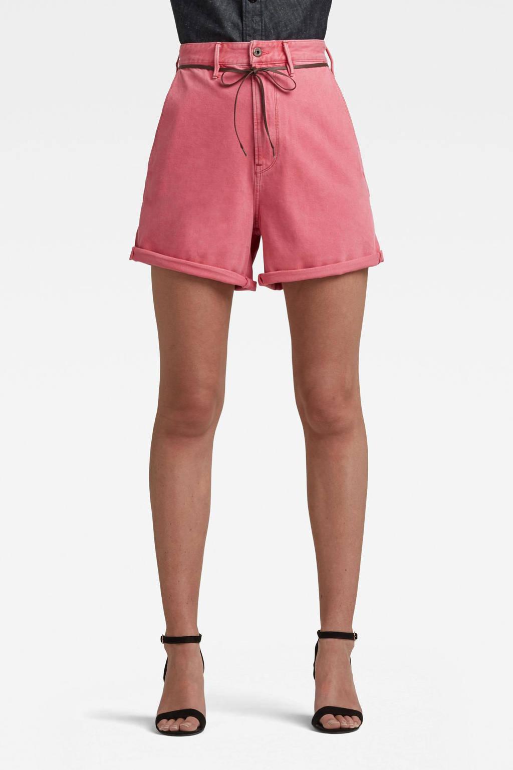G-Star RAW high waist loose fit short van biologisch katoen roze, Roze