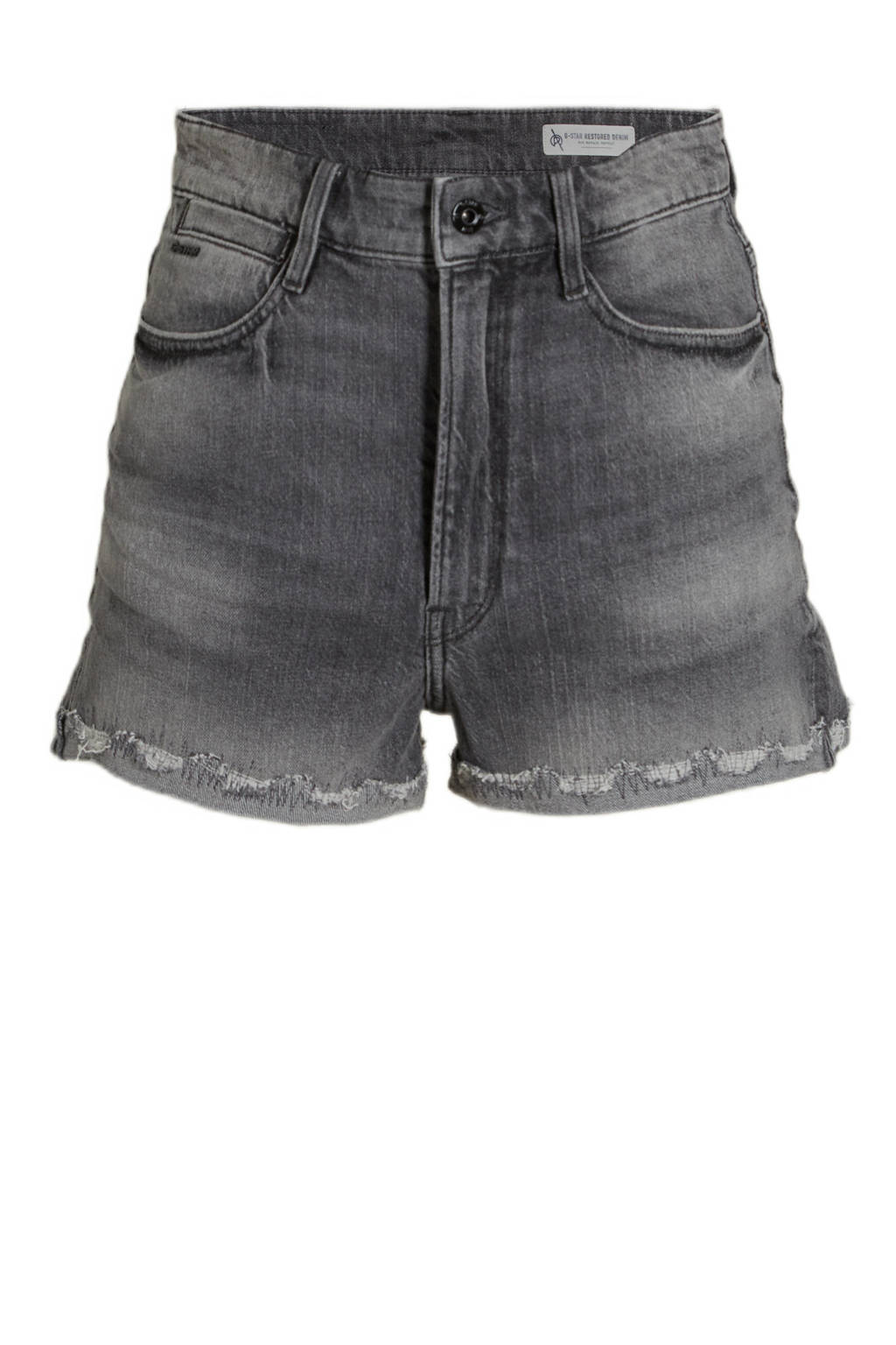 G-Star RAW Tedie Ripped Edge Ultra High Shorts high waist jeans short faded anchor, Faded anchor
