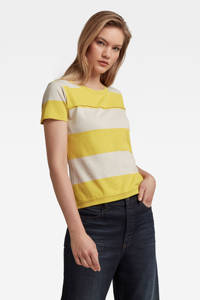 G-Star RAW gestreept T-shirt van biologisch katoen geel/ecru