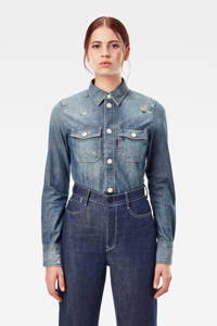 G-Star RAW blouse Kick back worker van biologisch katoen antic faded aegean blue painted, Antic faded aegean blue painted
