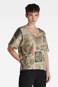 G-Star RAW T-shirt van biologisch katoen beige/roze/antraciet, Beige/roze/antraciet