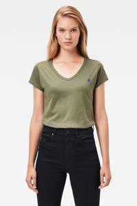 G-Star RAW T-shirt met logo en borduursels olijfgroen/blauw, Olijfgroen/blauw