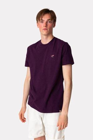 gemêleerd T-shirt DUD  van biologisch katoen aubergine