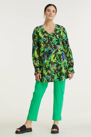 top van travelstof met bladprint groen/zwart/paars