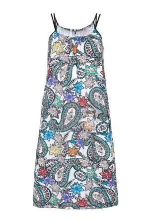 jurk van travelstof met paisleyprint wit/multi