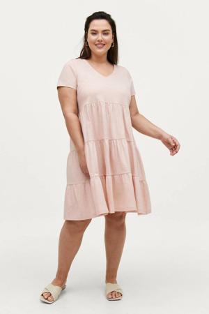 A-lijn jurk DISA met volant lichtroze