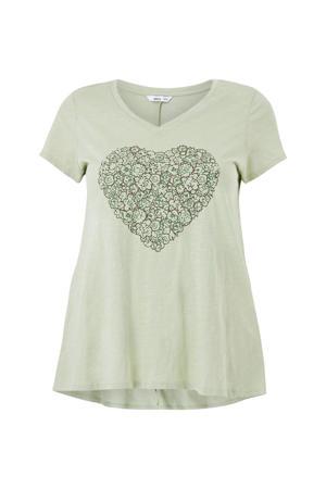 T-shirt RAIN met printopdruk groen