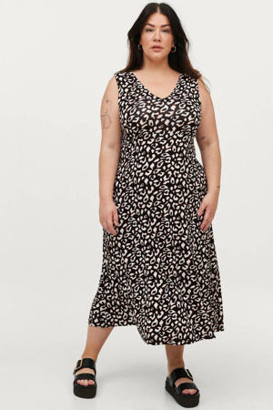 A-lijn jurk EMMY met dierenprint zwart/roodbruin/wit